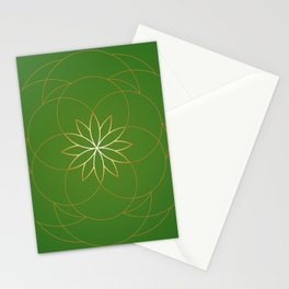 Minimalist Sacred Geometric Succulent Flower in Gold and Emerald Green  Stationery Cards