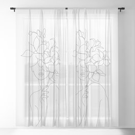 Minimal Line Art Woman with Orchids Sheer Curtain