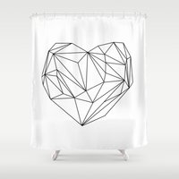 heart Shower Curtains featuring Heart Graphic (black on white) by Mareike Böhmer