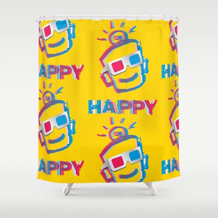 3D HAPPY Shower Curtain