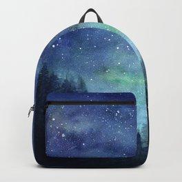 Watercolor Galaxy Nebula Northern Lights Painting Backpack
