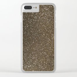 Bronze Gold Burnished Glitter Clear iPhone Case