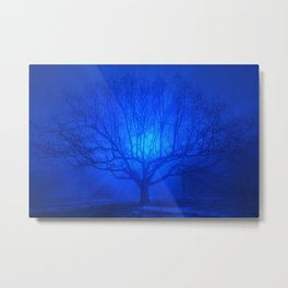 Foggy Blue Tree Metal Print