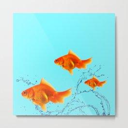 THREE GOLDFISH IN AQUA WATER ABSTRACT ART Metal Print