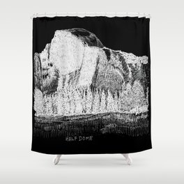 Hangin at Half Dome - White on Black Shower Curtain
