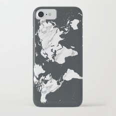 Marble World Map in Black and White iPhone 7 Slim Case
