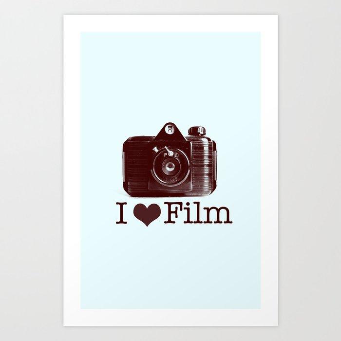 I ♥ Film (Maroon/Aqua) Art Print