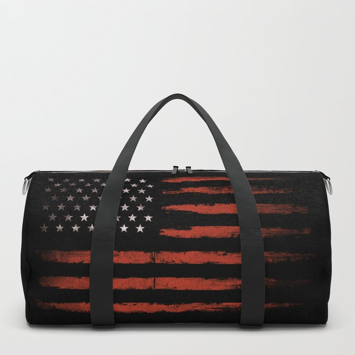 American flag Grunge Black Duffle Bag