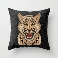 leopard Throw Pillows featuring Leopard by ArtLovePassion
