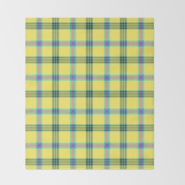 lemon love plaid with a dash of pink and blue Throw Blanket