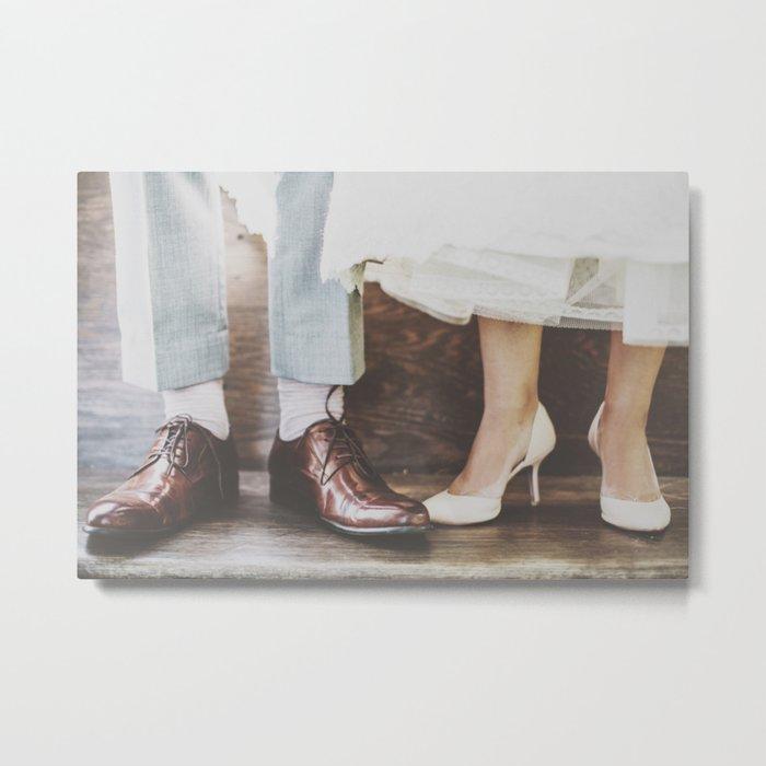 Vintage Swing Couple Shoes Metal Print