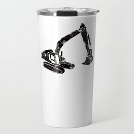 Digger Construction Funny Cute Backhoe Bulldozer Black Travel Mug