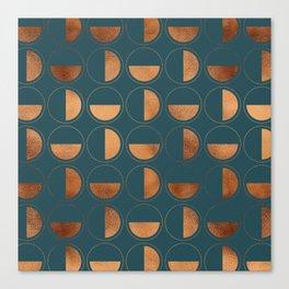 Copper Circles Art Deco on Emerald Canvas Print