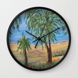 Heading to The Beach 2, Impressionism tropical beach art Wall Clock