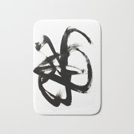 Brushstroke 4 - a simple black and white ink design Bath Mat