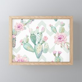 Cactus Chevron Southwestern Watercolor Framed Mini Art Print