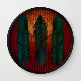 Feathers at campfire Wall Clock