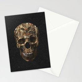 Vintage American Tattoo Skull Wood Stripes Texture Stationery Cards
