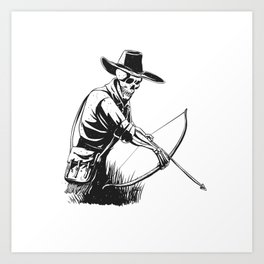 Cowboy skeleton with crossbow - black and white - gothic skull cartoon - ghost silhouette Art Print