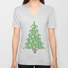 Cross Stitch Christmas Tree Unisex V-Neck