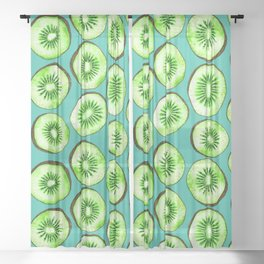 Kiwi slices on turquoise Sheer Curtain