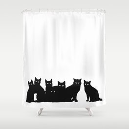 Seven black cats in white space. Shower Curtain