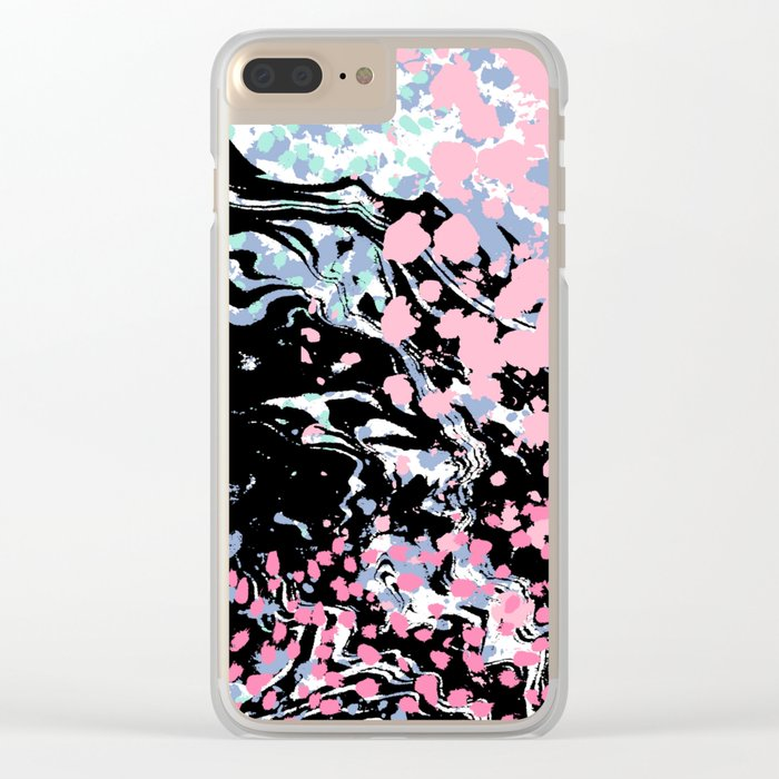 Abstract painting modern minimal ocean space galaxy space art minimalist pink and mint Clear iPhone Case