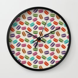 Macaron Cookies, Polka Dots - Blue Green Red Pink  Wall Clock