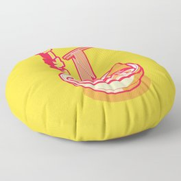 Japanese Ramen Isometric Minimal - Solid Yellow Floor Pillow