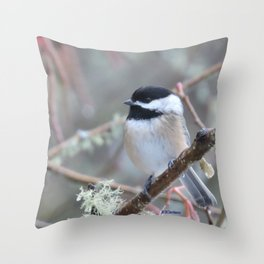 Chickadee in the Alder Tree Throw Pillow