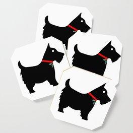 Black Scottiedog Scottish Terrier with Christmas Holly Coaster