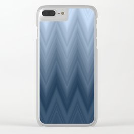 Blue Navy Chevron Ombre Clear iPhone Case
