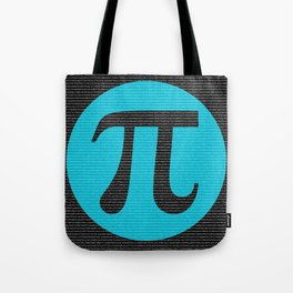 First 10,000 digits of Pi, blue on black. Tote Bag