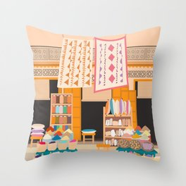 Marrakech Medina Shop, Morocco Throw Pillow