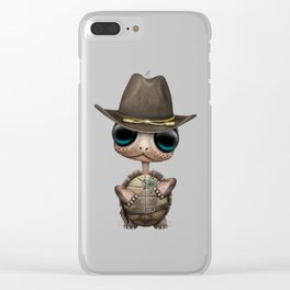 Cute Baby Turtle Sheriff Clear iPhone Case