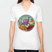 halo V-neck T-shirts featuring Halo Haloctopus by Shelly Soneja