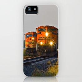 "Burlington  Northern Santa Fe Railroad Locomotives ""Changing of the Guard"" iPhone Case"
