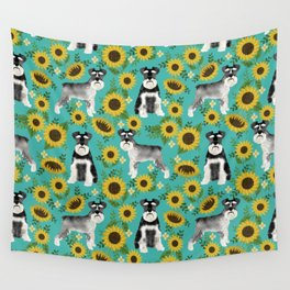 Schnauzer sunflowers spring summer floral dog breed dog pattern pet friendly Wall Tapestry