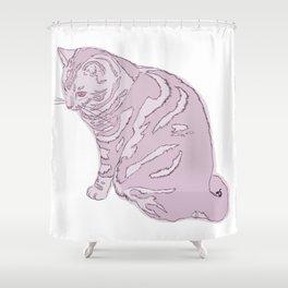 Blush Kitty Shower Curtain