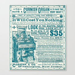 Vintage Cornish Organ Piano Musical Instrument Ad Canvas Print