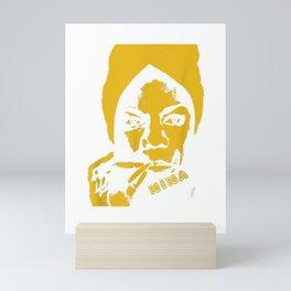 Nina Simone T-shirt Yellow Mini Art Print