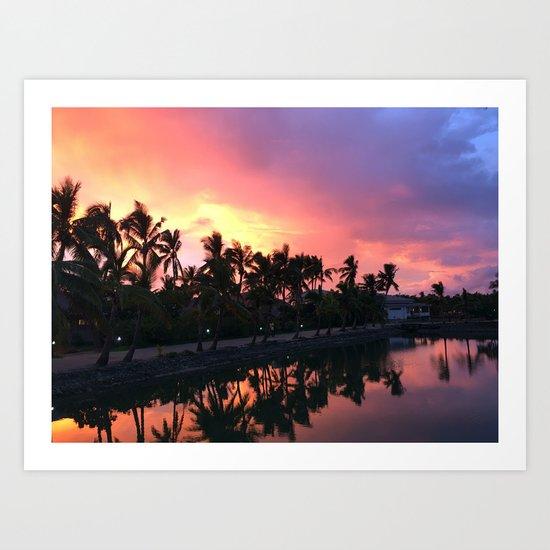 Sunset in Fiji Art Print