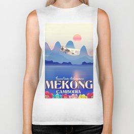 Mekong Cambodia vacation poster. Biker Tank