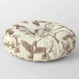 Sepia Hummingbird Pattern Floor Pillow