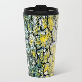 Yellow and Green Spotted Abstract Pigmented Tree Bark Print Travel Mug