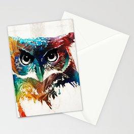Colorful Owl Art - Wise Guy - By Sharon Cummings Stationery Cards