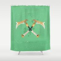 league Shower Curtains featuring League of Legends: Akali by Monstruonauta