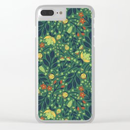 Teal, Pale Green, Dark Blue, Yellow & Orange Floral Pattern Clear iPhone Case