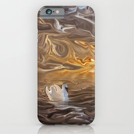 Swan on the Lake at Sunset iPhone Case