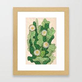 Blooming cactus, white & green, floral art Framed Art Print